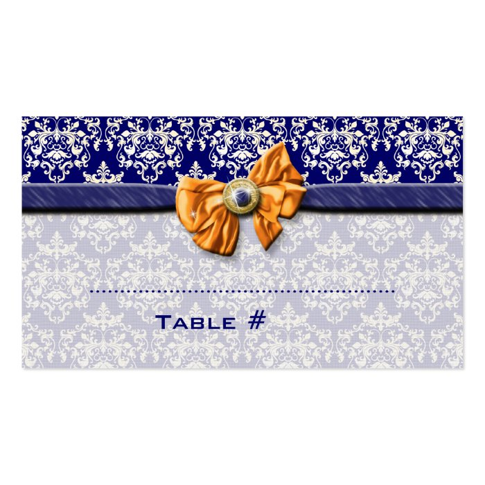 Navy blue orange wedding place seating business card