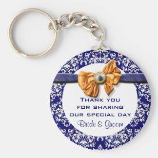 "Navy blue orange wedding ""thank you"" theme keychain"
