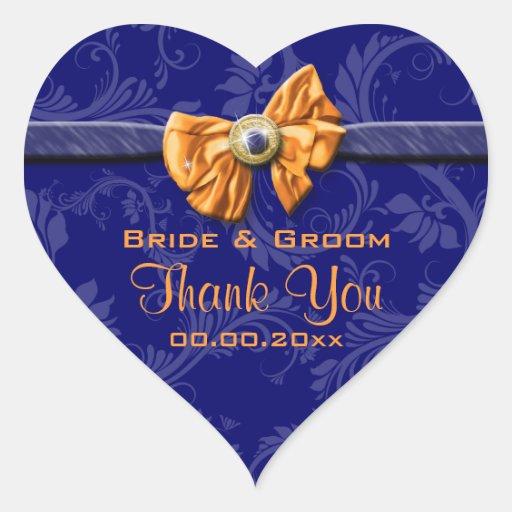"""Navy blue orange wedding """"thank you"""" theme stickers"""