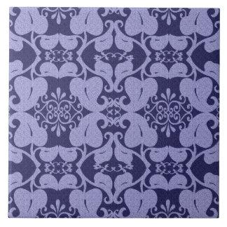 Navy Blue Ornate Modern Elegant Leaf Pattern Ceramic Tile