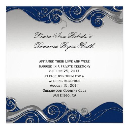 Navy Blue Ornate Silver Swirls Post Wedding Celebr Invitations