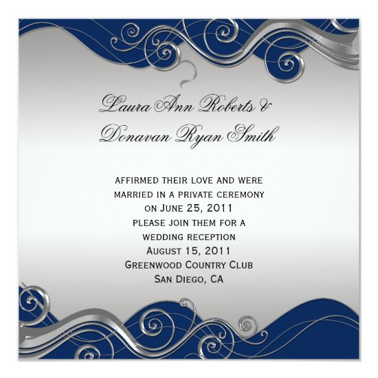 Navy Blue Ornate Silver Swirls Post Wedding Celebr Invitation