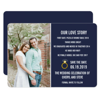 Navy Blue Our Love Story Photo Save the Dates Card