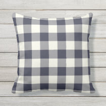 Navy Blue Outdoor Pillows - Gingham Pattern