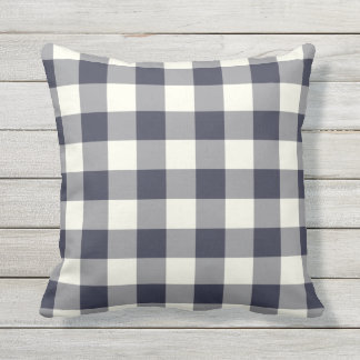 Navy Blue Outdoor Pillows - Gingham Pattern