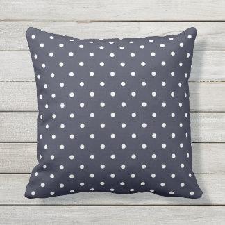 Navy Blue Outdoor Pillows - Polka Dot
