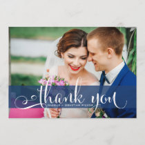 Navy Blue Overlay Script Wedding Photo Thank You