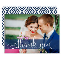 Navy Blue Overlay Script Wedding Photo Thank You Card
