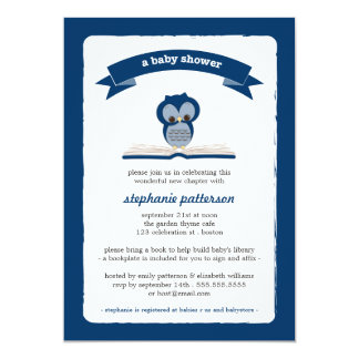 Navy Blue Owl Bring a Book Baby Shower Invitation