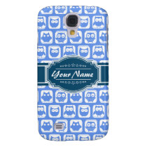 Navy Blue Owl Personalized Name Galaxy S4 Cover