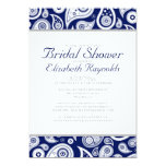 Navy Blue Paisley Bridal Shower Invitations Announcement