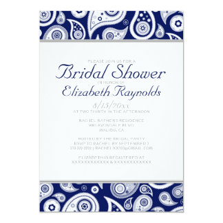 Navy Blue Paisley Bridal Shower Invitations