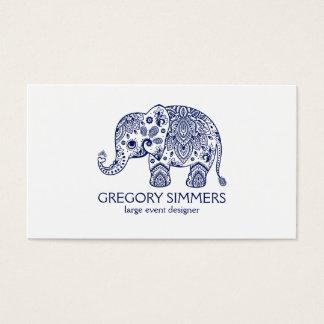 Navy Blue Paisley Elephant Illustration Business Card