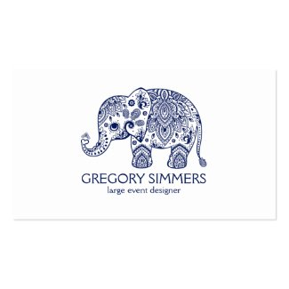 Navy Blue Paisley Elephant Illustration Double-Sided Standard Business Cards (Pack Of 100)