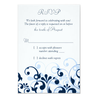 "Navy Blue Pale Blue White Abstract Floral RSVP 3.5"" X 5"" Invitation Card"