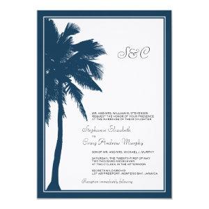 Navy Blue Palm Tree Wedding Invitation 5