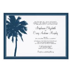 "Navy Blue Palm Tree Wedding Invitation 5"" X 7"" Invitation Card at Zazzle"