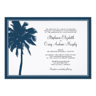 Beach Themed Navy Blue Palm Tree Wedding Invitation