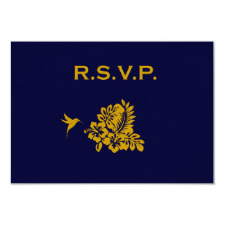 Navy Blue Passport Hibiscus Wedding Response RSVP 3.5x5 Paper Invitation Card