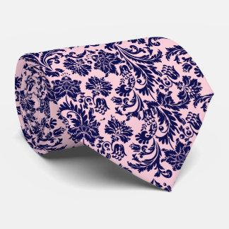 Navy Blue & Pastel Pink Floral Damasks Pattern Neck Tie