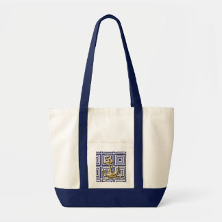 Navy Blue pattern anchor nautical Bags