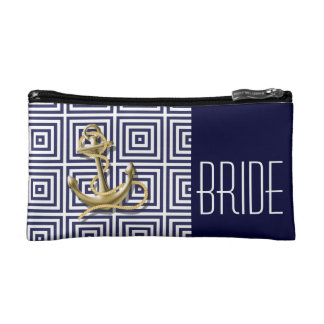 Navy Blue pattern anchor nautical bride Makeup Bag