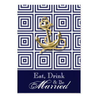 Navy Blue pattern anchor nautical rehearsal dinner Card
