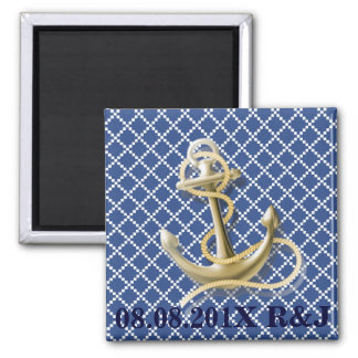 Navy Blue pattern anchor nautical save the date Magnet