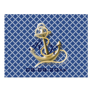 Navy Blue pattern anchor nautical save the date Postcard