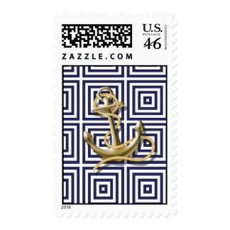 Navy Blue pattern anchor nautical wedding Postage Stamp