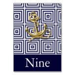Navy Blue pattern anchor nautical wedding Table Card