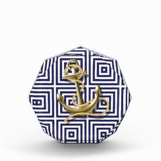 navy blue pattern nautical anchor preppy acrylic award