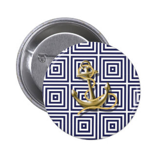 navy blue pattern nautical anchor preppy pinback buttons