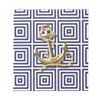 navy blue pattern nautical anchor preppy memo notepad