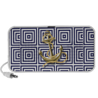 navy blue pattern nautical anchor preppy mini speakers