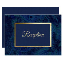 Navy Blue Pattern Wedding Reception Cards
