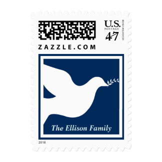 Navy blue peace dove bird christmas holiday postage stamp