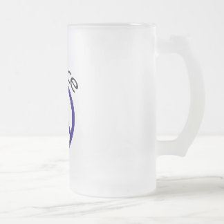 Navy Blue Peace & Word Frosted Glass Beer Mug