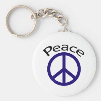 Navy Blue Peace & Word Keychain