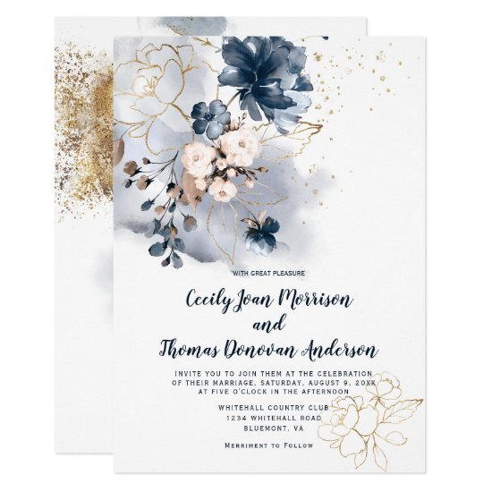 Navy Blue Peach and Gold Watercolor Floral Invitation