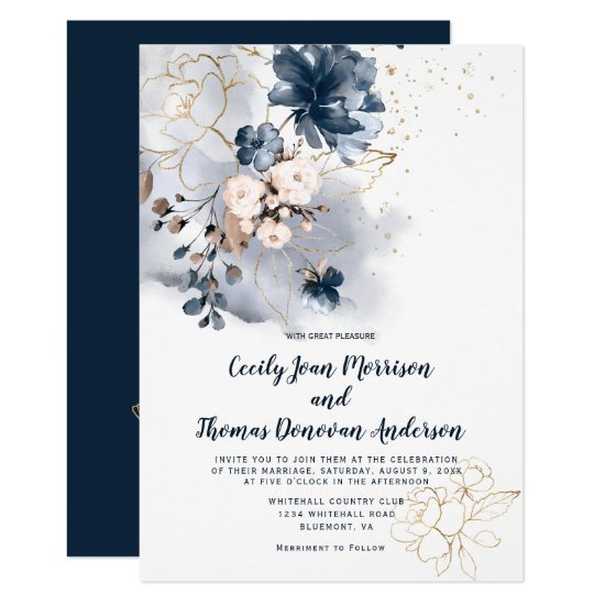 Navy Blue Peach and Gold Watercolor Flowers Invitation