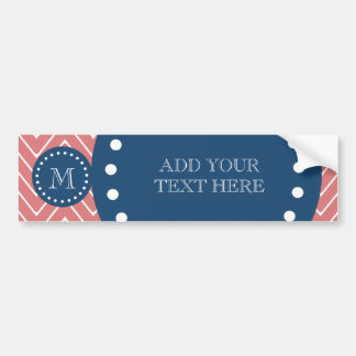Navy Blue, Peach Chevron Pattern | Your Monogram Bumper Sticker