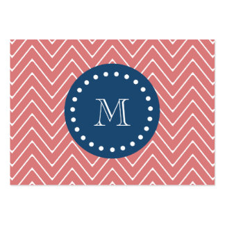 Navy Blue, Peach Chevron Pattern | Your Monogram Large Business Cards (Pack Of 100)