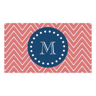 Navy Blue, Peach Chevron Pattern | Your Monogram Double-Sided Standard Business Cards (Pack Of 100)