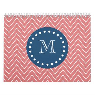 Navy Blue, Peach Chevron Pattern | Your Monogram Calendar