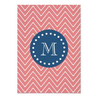 Navy Blue, Peach Chevron Pattern   Your Monogram Card