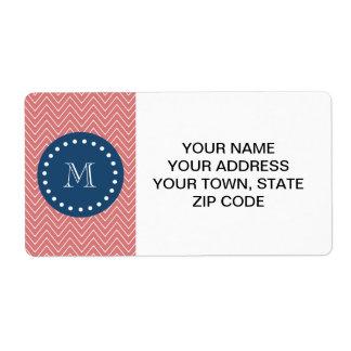 Navy Blue, Peach Chevron Pattern | Your Monogram Labels