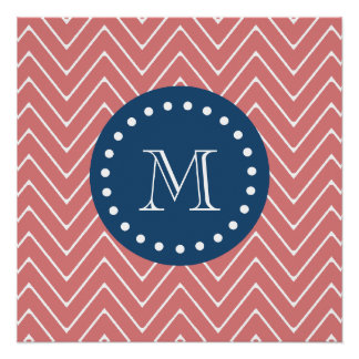 Navy Blue, Peach Chevron Pattern | Your Monogram Poster