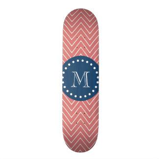 Navy Blue, Peach Chevron Pattern | Your Monogram Skateboard