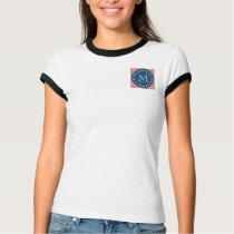 Navy Blue, Peach Chevron Pattern | Your Monogram T-Shirt